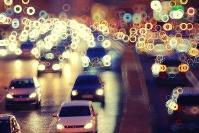 Obraz tła miasta nocy ruch świateł