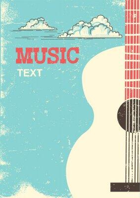 Obraz Tło festiwalu muzyki z gitara akustyczna instrument muzyczny dla tekstu.
