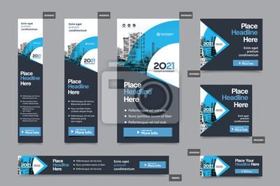 Obraz Tło miasta Corporate Web Banner Template w wielu rozmiarach. Łatwe dostosowanie do broszury, raportu rocznego, magazynu, plakatu, korporacyjnych nośników reklamowych, ulotki, strony internetowej.