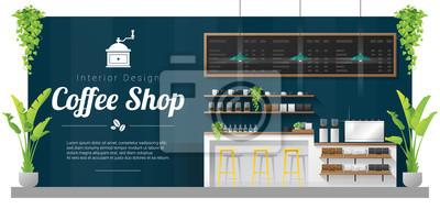 Obraz Tło wnetrze, scena nowoczesny bar kontuar kawy, wektor, ilustracja