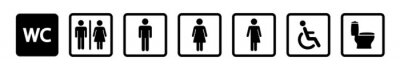 Obraz Toilet icon set. Restroom WC sign isolated. Men and women vector symbols on white background. Vector eps10.