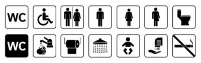 Obraz Toilet icons set, toilet signs, WC signs collection, restroom – stock vector