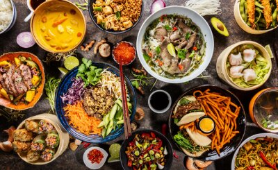 Obraz Top view composition of various Asian food in bowl