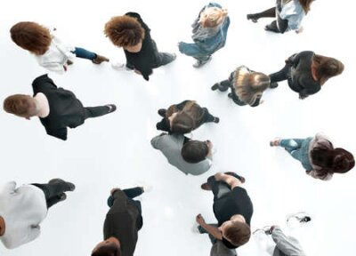 Obraz top view .groups of diverse young people moving towards each other