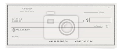 Obraz Torn off blank bank cheque. Personal desk check template with empty field to fill.