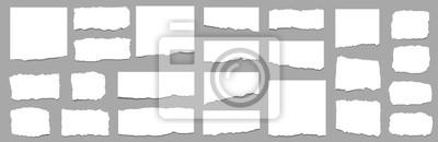 Obraz Torn sheets of paper. Torn paper strips set. Vector