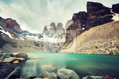 Torres del Paine National Park, kolor stonowanych obraz, Patagonia, Chile.