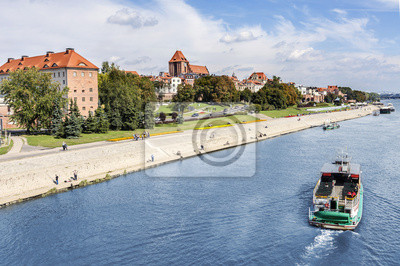 Torun city located on the Vistula river bank, Poland.
