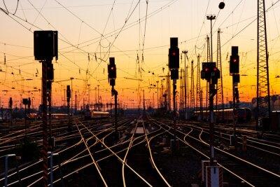 Obraz Tory kolejowe na zachodzie słońca