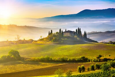 Obraz Toskania na wschód słońca