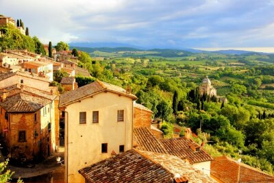 Obraz Toskanii i Montepulciano, Włochy na zachodzie słońca