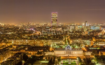 Obraz Tour Montparnasse and Ecole Militaire as seen from Eiffel Tower  Paris, France