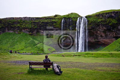 Tourist Rest pobliżu wodospadu, Islandii
