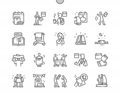 Obraz Towel Day Well-crafted Pixel Perfect Vector Thin Line Icons 30 2x Grid for Web Graphics and Apps. Simple Minimal Pictogram
