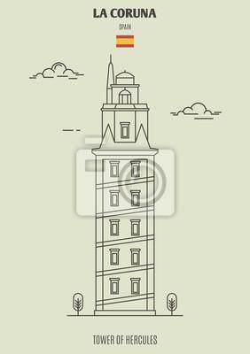 Tower of Hercules in La Coruna, Spain. Landmark icon