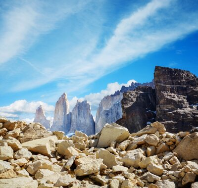 Towers of Paine in Torres del Paine National Park, Chile.