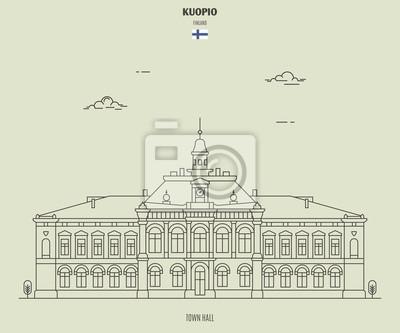 Town Hall in Kuopio, Finland. Landmark icon