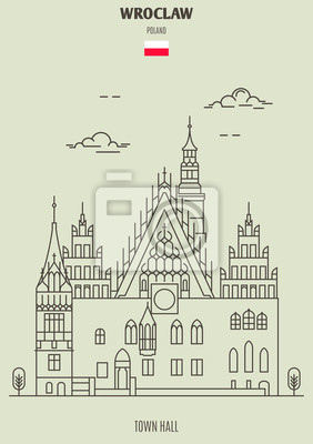 Town Hall in Wroclaw, Poland. Landmark icon