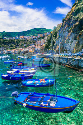 Traditional fishing village Scilla in Calabria. South of Italy