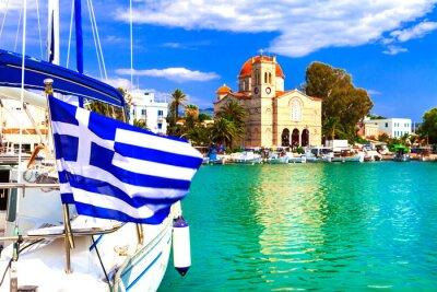 Traditional greek fishing villages. Aegina island. Popular tourist destination