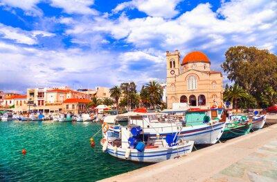Traditional greek fishing villages. Aegina island. Saronic gulf of Greece.  Popular tourist destination