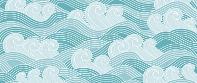Obraz Traditional Japanese wave pattern vector. Luxury oriental style wallpaper. Hand drawn line arts design for prints, fabric, poster and wallpaper.