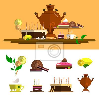 Tradycyjna ceremonia herbaty z samowara. zestaw ikon wektorowych w stylu płaskiej. Elementy konstrukcyjne, filiżanka, ciasto, cytryna, ciastka, słodycze