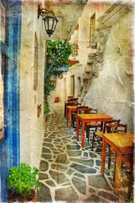 Tradycyjne greckie tawerny-artystyczny obraz