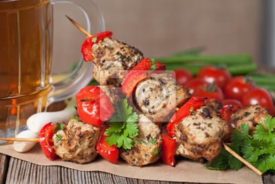 Tradycyjny Kurczak Lub Indyk Kebab Szpikulec Miesa Z Grilla Obrazy Redro