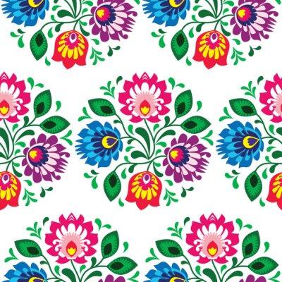 Obraz Tradycyjny kwiatowy wzór bez szwu z Polski na białym