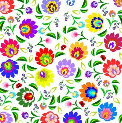 Obraz Tradycyjny polski ludowy wzór kwiatowy wektor