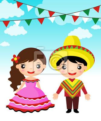 Tradycyjny strój meksykański para chłopak dziewczyna kreskówka. Obrazy Redro