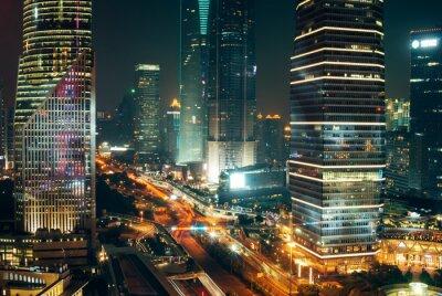 Obraz Traffic Lights, drapacze chmur w Szanghaju centrum miasta w nocy
