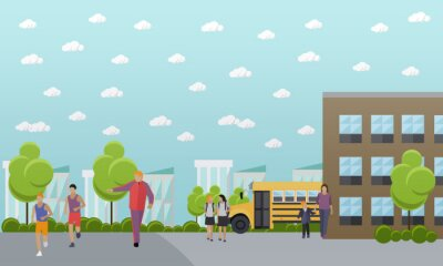 Transparent wektor koncepcja szkoły. College yard, budynek i autobus