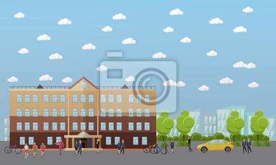 Transparent wektor szkoły i uczelni. Uczniowie, nauczyciele idą obok budynków uniwersyteckich