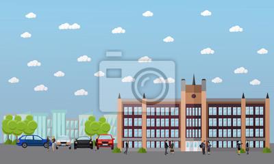 Transparent wektor szkoły i uczelni. Uczniowie, nauczyciele idą obok budynków uniwersyteckich.