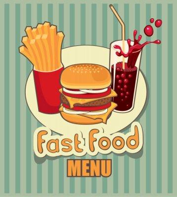Obraz transparent z fast food z cola, hamburger i frytki