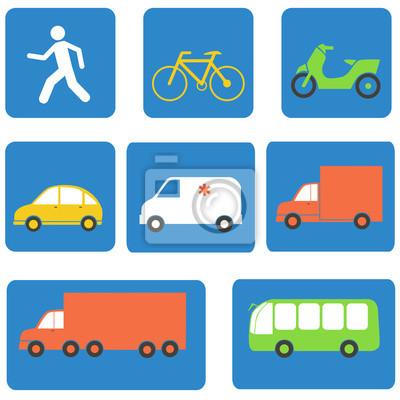 Transportu elementów ikony projektowania. Ilustracji wektorowych