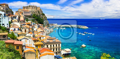Travel and landmarks of southern Italy, Calabria. Medieval coastal town Scilla