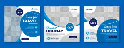 Obraz Travel company social media banner template in blue color. Travelling business offer promotion post design with logo. Online digital marketing flyer for summer holiday tour advertisement.