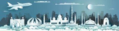Obraz Travel landmark Pakistan with ancient monument and modern building, skyline.