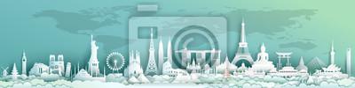 Obraz Travel landmarks world with world map background.