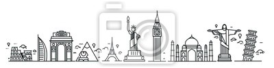Obraz Travel the world monument concept - Vector Flat Line Art Design.