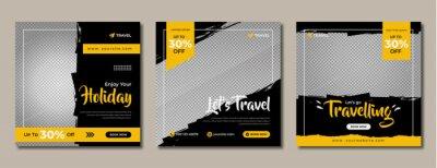 Obraz Travelling sale social media post template design. Set of web banner, flyer or poster for travel agency offer promotion. Service business marketing or advertisement digital banner.