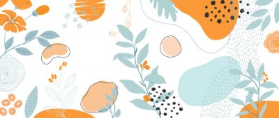 Obraz Trendy Abstract background with Shapes and floral element in Neutral Tones. Modern geometric vector for create stationary, Wrappers, posters, blogs, wallpapers. Vector illustration.