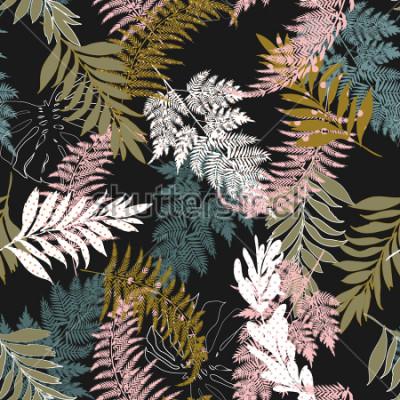 Obraz Trendy Dark Beautiful wiele rodzajów liści wypełnionych kropkami bez szwu deseniem i sylwetką bez szwu garnitury wektorowe dla mody, tkanin i wszystkich nadruków na czarnym tle