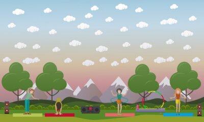 Trenować outdoors pojęcia wektorową płaską ilustrację