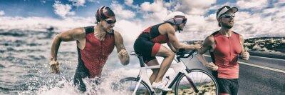 Obraz Triathlon sport banner man running , swimming, biking for competition race background. Triathlete swim bike run composite.