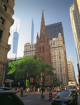 Obraz Trinity Church na Manhattanie w Nowym Jorku.