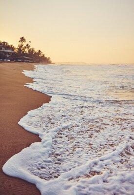 Tropical beach at sunrise, color toning applied, Sri Lanka.
